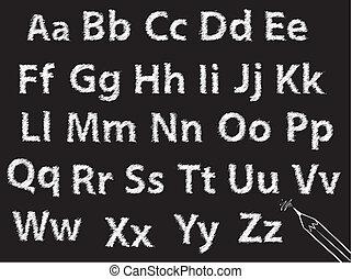 eller, träkol, alfabet, krita, sätta, brev, blyertspenna