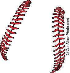 eller, ve, softboll, baseball, snören