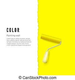 eller, vertikal, utrymme, text, gul, wall., måla, vektor, design, illustration, annat, roller