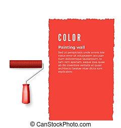 eller, vertikal, utrymme, text, text., illustration, wall., måla, vektor, design, röd, annat, roller, borsta