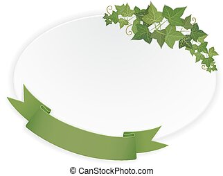 ellipse banner with ribbon and vine - paper ellipse banner...