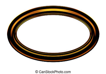 Ellipse brown painting frame isolated on white background