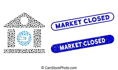 Ellipse Collage Dash Bank Building with Textured Market Closed Watermarks
