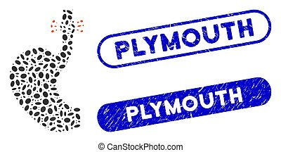Mosaic esophageal cancer and corroded stamp seals with Plymouth phrase. Mosaic vector esophageal cancer is designed with random oval dots. Plymouth stamp seals use blue color,