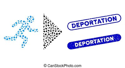 Mosaic exit direction and grunge stamp seals with Deportation phrase. Mosaic vector exit direction is created with random elliptic elements. Deportation stamp seals use blue color,