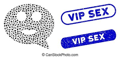 Ellipse Collage Lady Smiley Message with Scratched Vip Watermarks