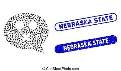 Ellipse Collage Mute Smiley Message with Grunge Nebraska State Stamps