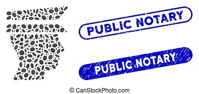Ellipse Collage Officer Head with Scratched Public Notary Watermarks