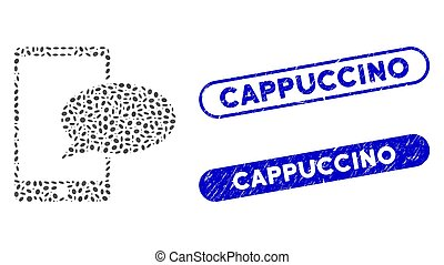 Ellipse Collage Phone Message with Textured Cappuccino Seals