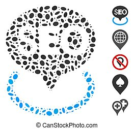 Ellipse Collage Seo Geotargeting - Dotted Mosaic based on ...