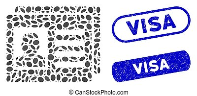 Ellipse Collage User Account Cards with Distress Visa Stamps