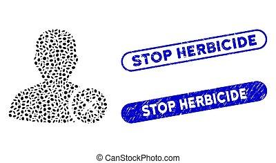 Ellipse Collage User Erase with Textured Stop Herbicide Watermarks