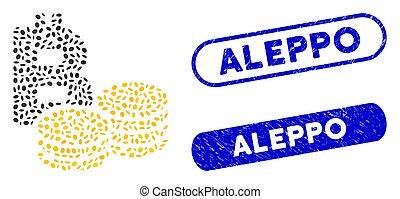 Ellipse Mosaic Bitcoin Coins with Textured Aleppo Seals