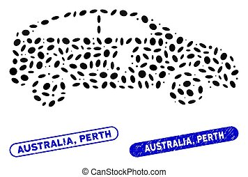 Ellipse Mosaic Electric Car with Textured Australia, Perth Stamps
