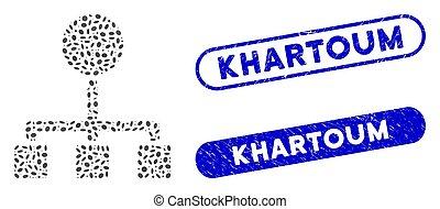 Ellipse Mosaic Hierarchy with Grunge Khartoum Watermarks