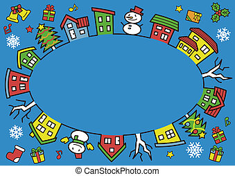 ellipse of houses and trees - line drawing and color - Christmas version of blue background