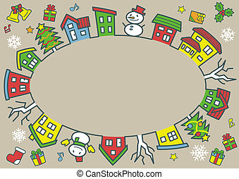 ellipse of houses and trees - line drawing and color - Christmas version of khaki background