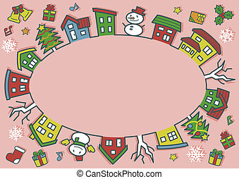 ellipse of houses and trees - line drawing and color - Christmas version of pink background