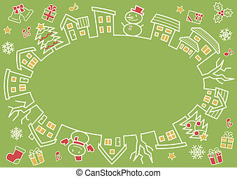 ellipse of houses and trees - line drawing and color - four colors Christmas version of green background