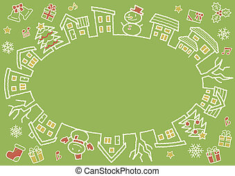 ellipse of houses and trees - rough line and scribble color - four colors Christmas version of green background