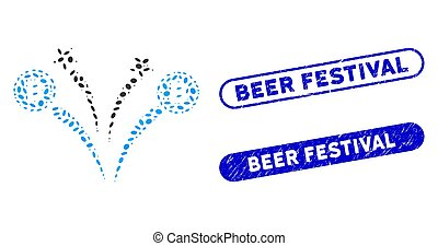 Elliptic Collage Bitcoin Fireworks with Distress Beer Festival Stamps