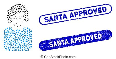 Elliptic Collage Bureaucrat Lady with Scratched Santa Approved Stamps