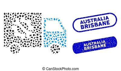 Elliptic Collage Equipment Truck with Grunge Australia Brisbane Stamps