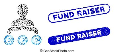 Mosaic Euro capitalist and rubber stamp seals with Fund Raiser text. Mosaic vector Euro capitalist is designed with randomized oval items. Fund Raiser stamp seals use blue color,
