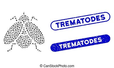 Mosaic fly insect and grunge stamp seals with Trematodes caption. Mosaic vector fly insect is created with scattered ellipse dots. Trematodes seals use blue color, and have round rectangle shape.
