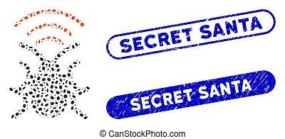 Elliptic Collage Radio Bug with Distress Secret Santa Watermarks