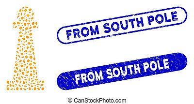 Mosaic Stanchion and grunge stamp watermarks with From South Pole text. Mosaic vector Stanchion is designed with scattered elliptic pieces. From South Pole stamp seals use blue color,