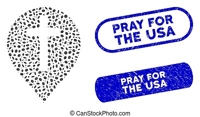Elliptic Mosaic Christian Cross Marker with Scratched Pray for the USA Stamps