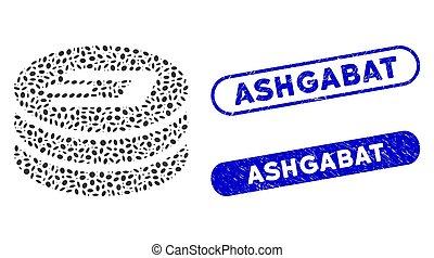 Elliptic Mosaic Dash Coin Column with Distress Ashgabat Watermarks