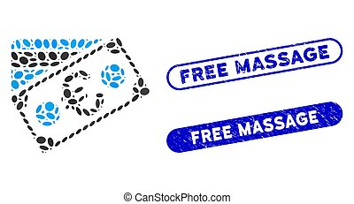 Elliptic Mosaic Euro Banknote and Credit Card with Grunge Free Massage Seals