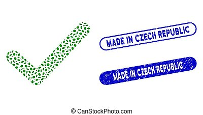 Elliptic Mosaic OK Tick with Grunge Made in Czech Republic Seals