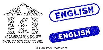 Elliptic Mosaic Pound Bank Building with Distress English Watermarks
