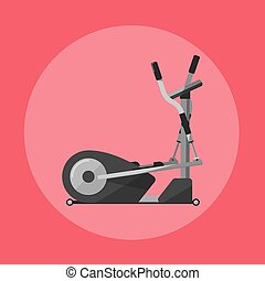 Elliptical cross trainer. Gym sports equipment