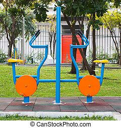 Elliptical gym machine  in park