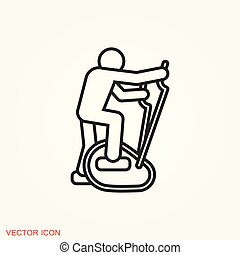 Elliptical machine gym icon, vector sign symbol for design -...