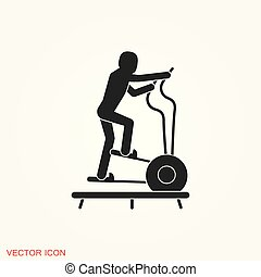 Elliptical machine gym icon, vector sign symbol for design