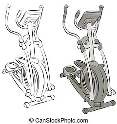 Elliptical Machine Line Drawing - An image of a elliptical...