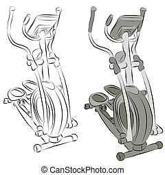 Elliptical Machine Line Drawing - An image of a elliptical...