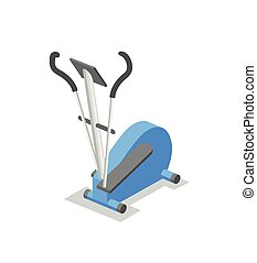 Elliptical trainer, training apparatus for the gym. Fitness equipment isometric illustration. Flat vector illustration. Isolated on white background.