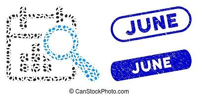 elliptikus, talál, topog, kollázs, június, dátum, textured
