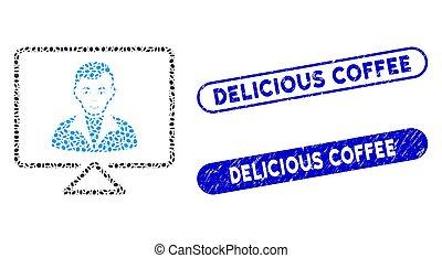 elliptique, café, mosaïque, contact, filigranes, vidéo, délicieux, détresse