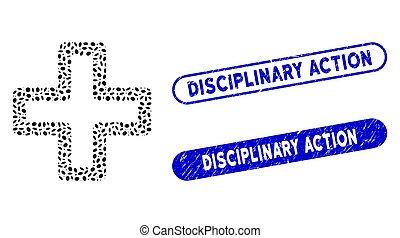 elliptique, mosaïque, action, disciplinaire, grunge, cachets, plus