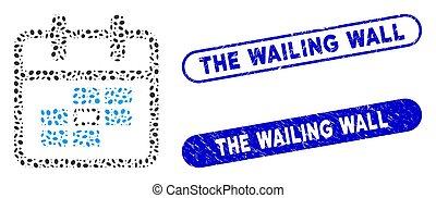 elliptique, timbres, mosaïque, date, calendrier, mur, textured, gémir