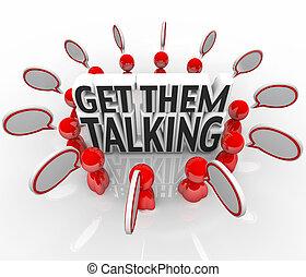 ellos, compartir, conseguir, gente, ideas, hablar, discurso, burbujas