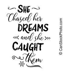ellos, ella, agarrado, perseguido, ella, sueños