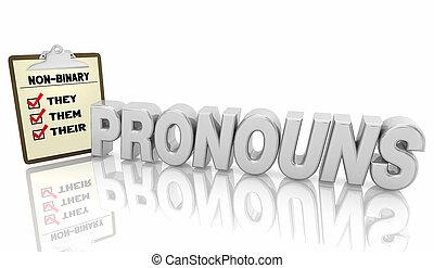 ellos, ellos, non-binary, género, lista de verificación, pronouns, su, ilustración, 3d